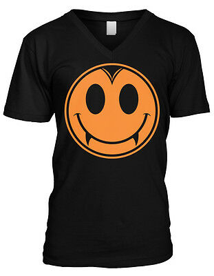 Halloween Vampire Smiley Face Fangs Teeth Horror Scary Ghost Mens V-neck T-shirt](Scary Halloween Smiley Faces)