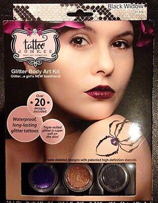 Tatoo Junkee Body Art Cosmetics, Glitter Body Art Kit - Black Widow (Black Widow Makeup)