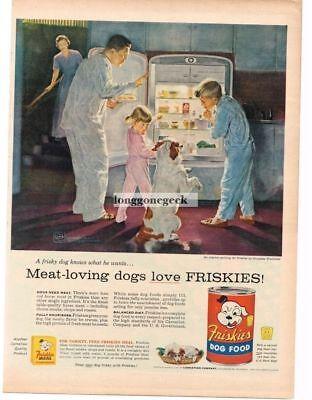 1956 Friskies Dog Food Kids Dad Dog Midnight Snack Douglas Crockwell Vintage Ad