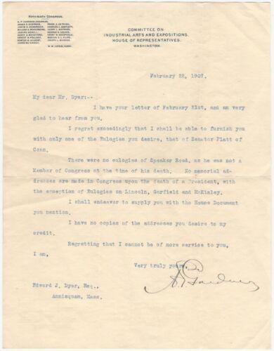 1907 Typewritten Congressional Letter Regarding Congressional Eulogies