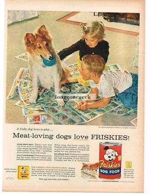 1956 Friskies Dog Food Frisky Dog Wants To Play art Douglas Crockwell Vintage Ad