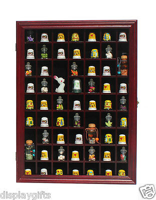 59 Thimble Display Case Shadow Box Wall Rack Cabinet, with Glass Door - TC01:CHE