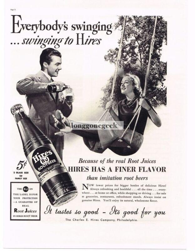 1937 HIRES ROOT BEER Woman on Swing Vintage Ad