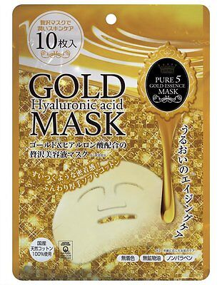 JAPAN GALS Pure 5 Gold Essence Mask 10pcs anti aging  #997 F/S