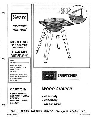 1982 Craftsman 113.239201  Wood Shaper Instructions