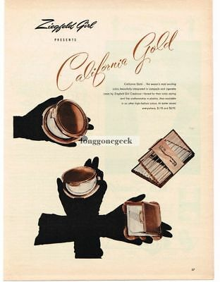 1946 Ziegfeld Girl California Gold Compact Cigarette Cases art Vintage Print Ad