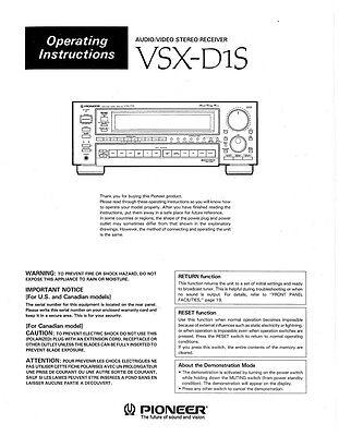 Pioneer VSX-D1S Receiver Owners Manual
