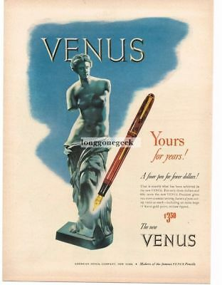 1945 American Pencil Co. Venus Fountain Pen De Milo Vtg. Print Ad