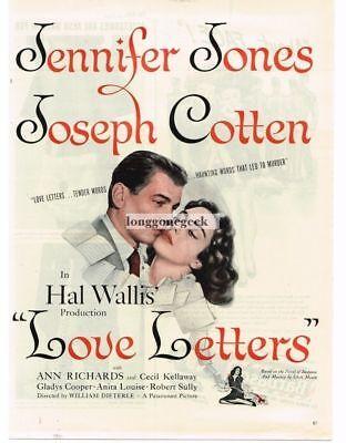 1945 Love Letters Jennifer Jones Joseph Cotten VINTAGE Movie Promo Print Ad