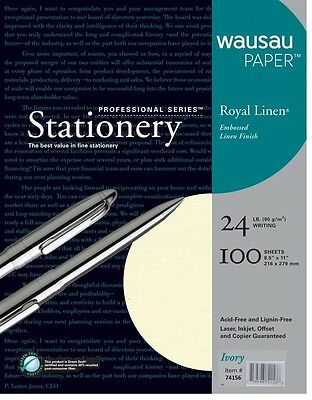 "100 Sheets Wausau Paper Royal Linen Ivory 24 LB. 8.5"" X 11"" New USA Professional"