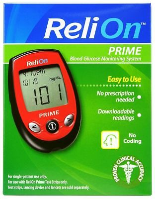 ReliOn Prime Blood Glucose Monitoring System, Red- New Diabetes diabetic monitor