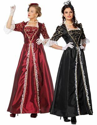 Marquise Damen Barock Rokoko Kostüm Taft Kleid Adelige Gräfin französisch (Barock Kleid Kostüm)