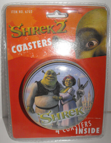 Shrek Coasters from Shrek 2 Movie - 4 Drink Coasters inside Round Tin by Rix