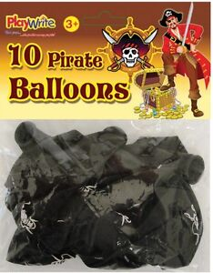 Pack of 10 x Good Quality 30cm Pirate Black Latex Balloons ~ Party bags