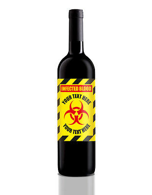 Personalised Halloween Wine/Home Brew/Soft drink bottle Label, Infected Blood - Blood Label Halloween