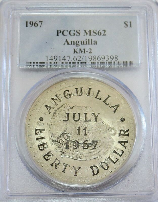 1967 SILVER ANGUILLA DOLLAR COUNTER STAMPED MEXICO 5 PESO PCGS MINT STATE 62