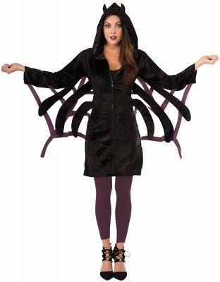 Damen Halloween Spinnen Kostüm Hoodie Spider Spinnennetz warm cozy Gr. 34-38