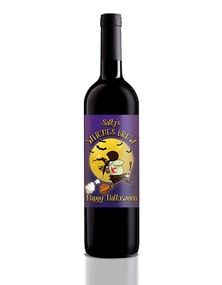 Personalised Halloween Wine/Home Brew/Soft drink bottle Label, Witches - Witches Brew Drink