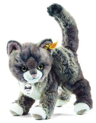 Steiff Katze Kitty 25cm graubeig stehend Kuscheltier Plüsch 30°C Geschenk 099335