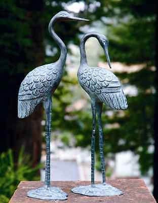 """Brass Love Crane Pair Sculpture Indoor Outdoor Garden Bird Heron Statue 16""""H"""