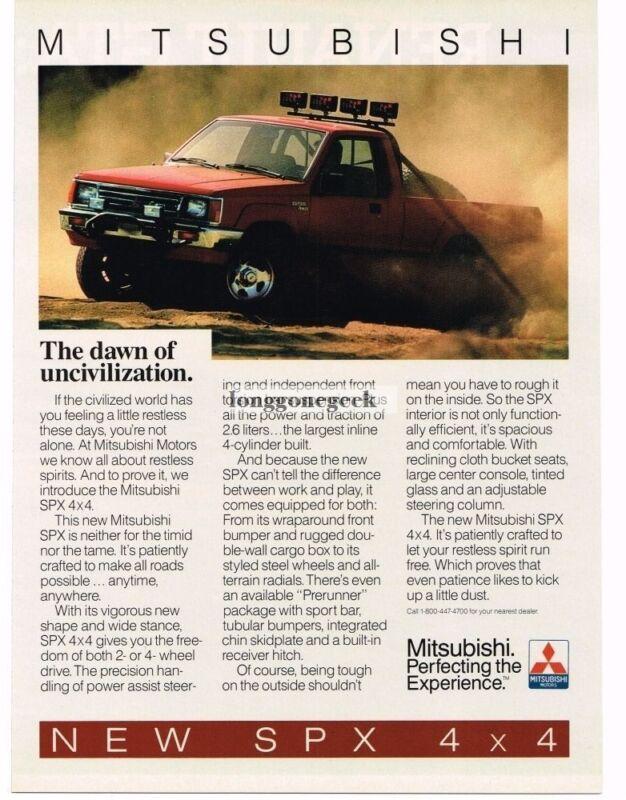 1986 Mitsubishi SPX 4x4 Red Pickup Truck Vintage Ad