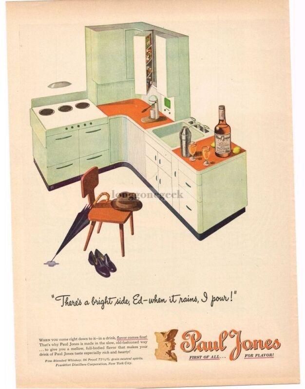 1946 PAUL JONES Whiskey Mid Century Modern Kitchen art Vintage Ad