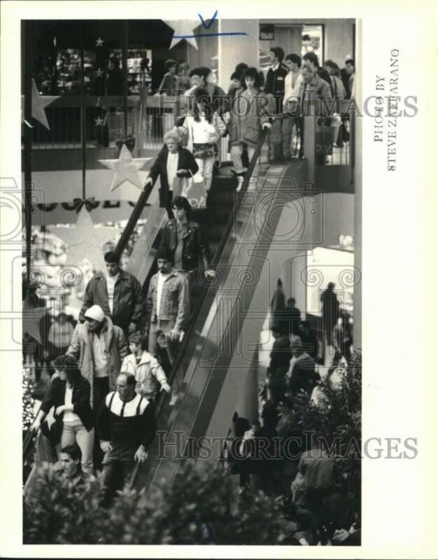 1987 Press Photo Shoppers on Staten Island Mall
