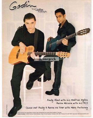 2000 GODIN Acoustic Guitars ANDY ABAD, AARON McLAIN Vintage Ad