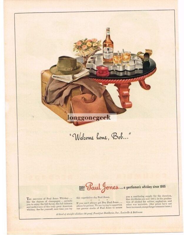 1943 Paul Jones Whiskey mid-century retro furniture VINTAGE Print Ad