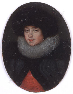 """Young woman in black hat"", German oil on copper miniature!!, early 17th century"