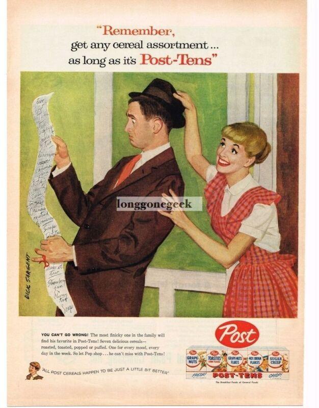 1957 POST TENS Cereal Wife Sends Husband for Groceries DICK SARGENT Vintage Ad