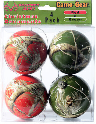 REALTREE CAMO CHRISTMAS ORNAMENTS - RED & GREEN CAMOUFLAGE - HOLIDAY DECOR