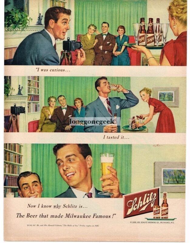1950 Schlitz Beer Family Photo Night 3-panel art Vintage Print Ad