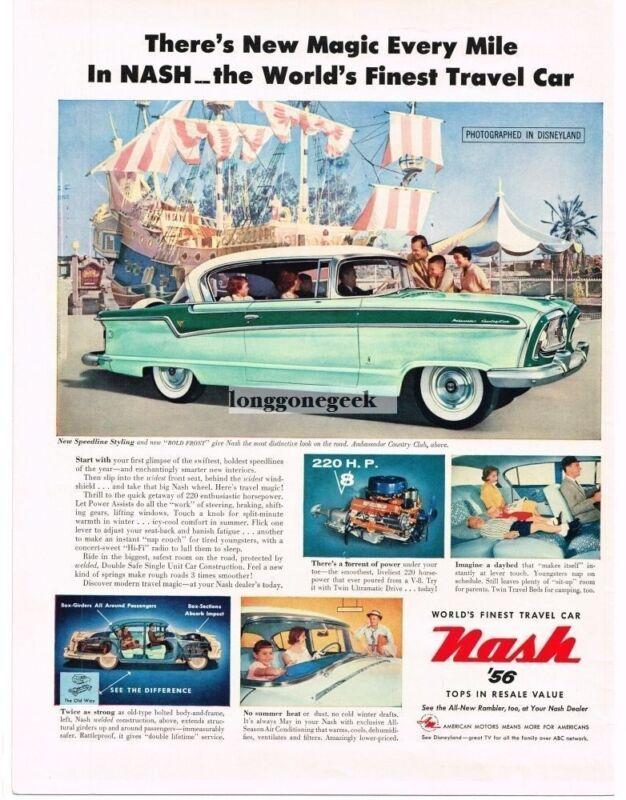 1956 Nash Ambassador Country Club 2-tone Green 2-door HT Disneyland Vintage Ad