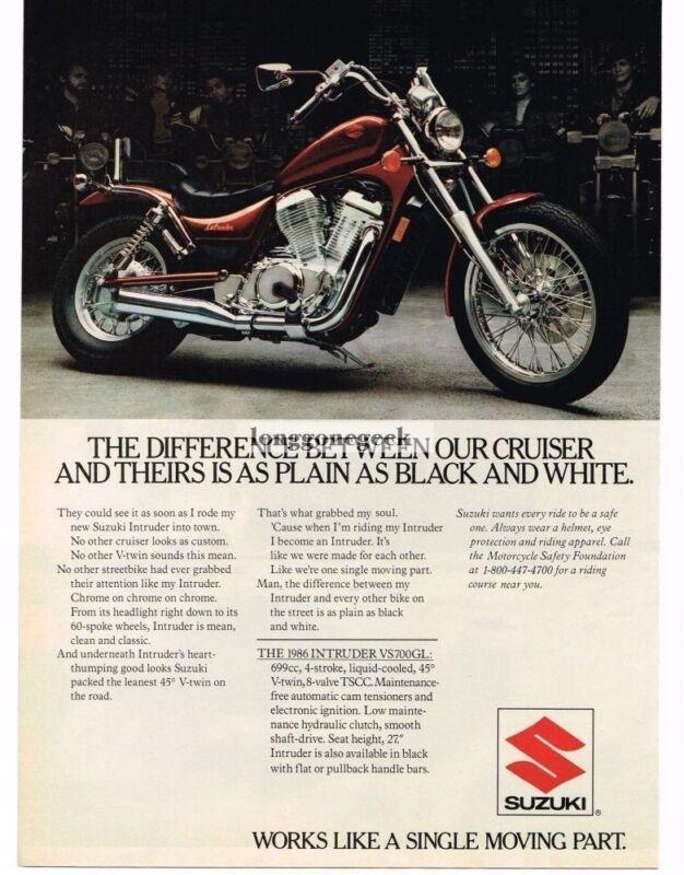 1985 Suzuki Intruder Motorcycle Vintage Ad