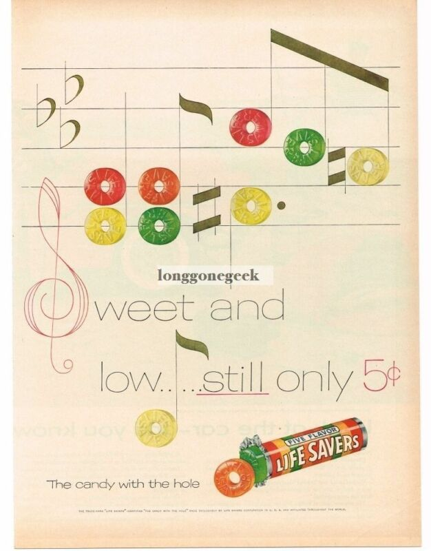 1955 LIFE SAVERS Five Flavors Candy Music Staff Notes Song art Vintage Print Ad
