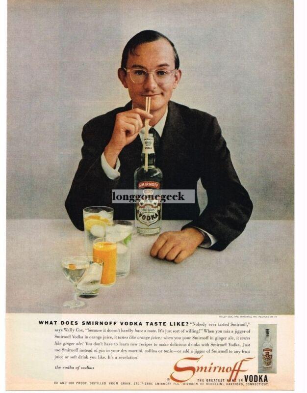 1957 SMIRNOFF Vodka Wally Cox Vintage Print Ad