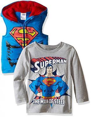 Superman Toddler Boys Costume Puffer Vest & Top Set Size 2T 3T 4T - Superman Costume Toddler 2t 4t