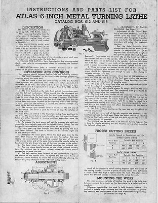 Atlas 612 & 618-Instructions and Parts List for  6-inch lathe  Instructions
