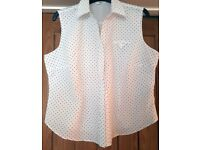 Ladies Sleeveless Blouse - White with Navy Spots - Marks and Spencer