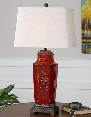 French Country Embossed Aged Red Ceramic Table Lamp Old World Tuscan 31