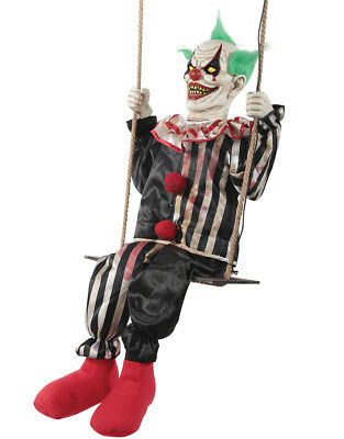 HALLOWEEN LIFE SIZE ANIMATED SWINGING CHUCKLES CLOWN  PROP DECOR HAUNTED HOUSE