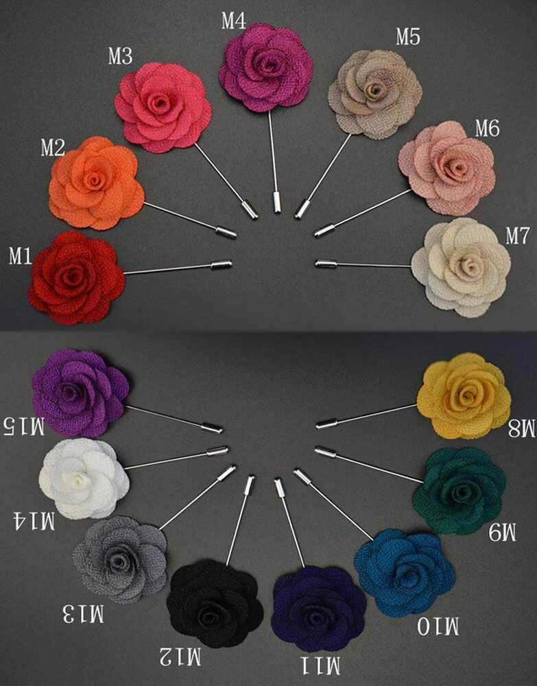 Handmade Rose Flower Boutonniere Brooch Lapel Pin Accessories For Men/'s Suit