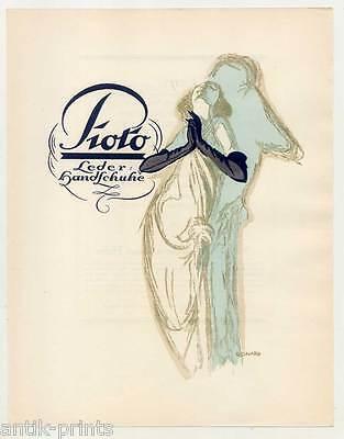 Art Déco-Mode-Leder-Handschuhe - Pochoirkolorit - Lithographie aus Styl 1922