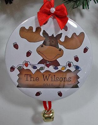 6 CUSTOM PERSONALIZED CHRISTMAS ORNAMENTS MOOSE FACE YOUR NAME YEAR & DATE - Moose Christmas Ornaments