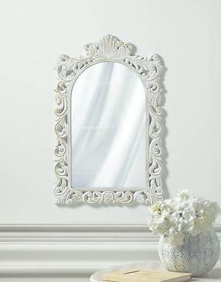 GRAND DISTRESSED VINTAGE STYLE SHABBY ELEGANCE WHITE WALL MIRROR DECOR~10018068
