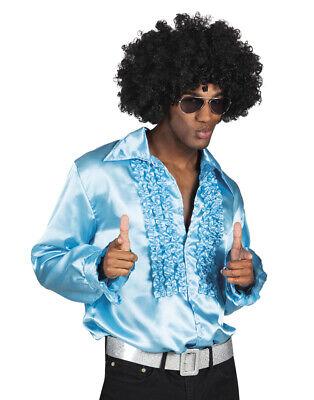 Herren Blau Türkis Hemd 70er Jahre 80er Disco Kostüm 1970s 1980er - 1970's Party Kostüm