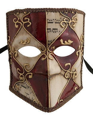 Mask Venice Bauta Asso Red and Dore Authentic Carnival Venetian 22478