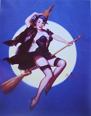HallOWEEN print, Pin Up Sexy WITCH broom, Full MOON  by vintage art ()