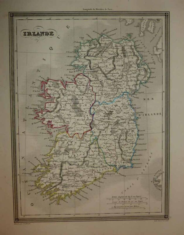 1843 Vuillemin Map IRELAND Finely Engraved, Detailed & Decorative Scarce Survey
